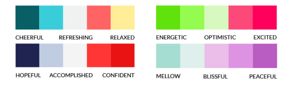 Here are some colour palette examples and the moods they set
