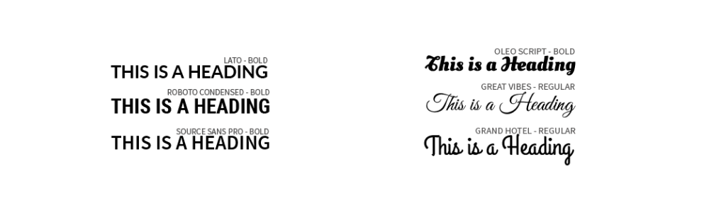 Fonts for headings by Fluid Ads
